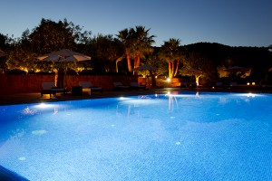 Can Rafal pool area at night